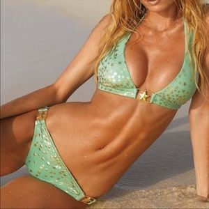 Victoria's Secret Mint and Gold Stars Bikini